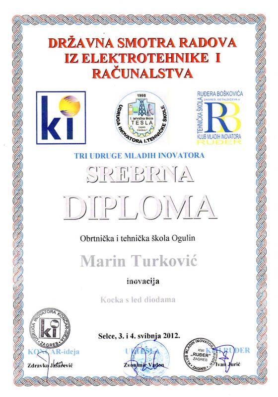 Srebrna diploma Marinu Turkoviću